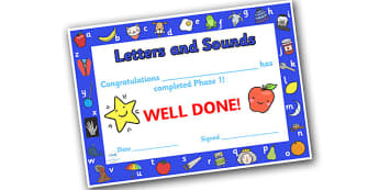 Letters and Sounds Award Certificates Phase 1 - Letters And Sounds, Phase 1, Letters Certificate, Sounds Certificate, Phase 1 Certificate