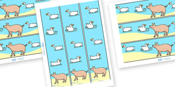 Display Borders to Support Teaching on Pig in the Pond - Pig in the Pond, Martin Waddell, resources, Very Hot Day, Neligan, Neligan's pig, ducks, geese, pond, animals, story, story book, story book resources, story sequencing, story resources, Displa