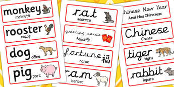 Chinese New Year Topic Word Cards EAL Romanian Translation - eal