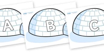 A-Z Alphabet on Igloos - A-Z, A4, display, Alphabet frieze, Display letters, Letter posters, A-Z letters, Alphabet flashcards