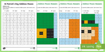 St Patrick's Day Addition Mosaic Activity Sheets - KS1& 2 St Patrick's Day UK March 17th 2017, st patrick, maths, addition, adding, irish, ireland, wo