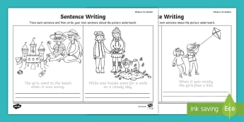 Whatever the Weather Trace and Copy Sentence Writing Activity Sheet - sun, rain, wind, snow, seasons, clothes, aistear, worksheet, literacy, oral langage, reading, writin