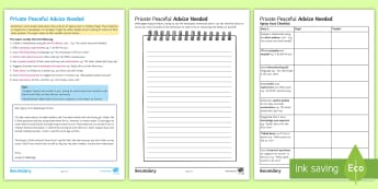 Advice Needed 'Agony Aunt' Activity Sheets to Support Teaching on 'Private Peaceful' by Michael Morpurgo - problem page, KS3 literature, Private Peaceful, Morpurgo, Advice, sympathy, empathy