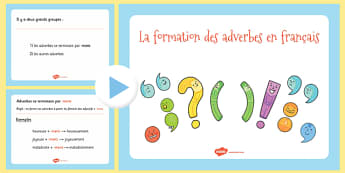PowerPoint sur la formation des adverbes en Français - Adverbe, grammaire, formation, PowerPoint, diaporama
