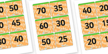 Half and Double Matching Cards - halving, doubling, number matching cards, half and double numbers matching cards, half and double game, ks2