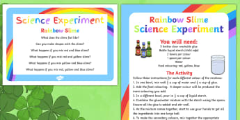 Rainbow Slime Science Experiment - St Patricks Day, Rainbow, Colours, rainbow slime, science, experiment