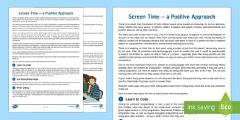 Developing Positive Screen Time Habits Parent and Carer Information Sheet - help, advice, wellbeing, health, parents, technology, esafety