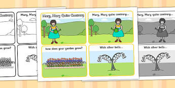 Mary Mary Quite Contrary Sequencing (4 per A4) - Miss Polly Had a Dolly , nursery rhyme, rhyme, rhyming, nursery rhyme story, nursery rhymes, doctor, people who help us, Miss Polly had a Dolly resources