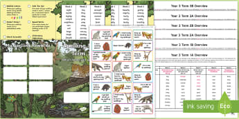 Year 3 Rainforest Themed Spelling Menu Pack - spag, gps, home learning, weekly, lists, test