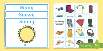 Weather Clothes Sorting Activity - clothes sorting activity, weather and the seasons, clothes, weather, seasons, clothes sorting, weather conditions