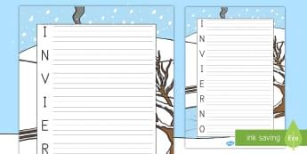 Acróstico: Invierno - acróstico, poesía, invierno, estaciones, estación, ,Spanish
