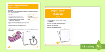 KS1 Paper Tower STEM Activity and Prompt Card Pack - challenge, solve, think, problem, solution