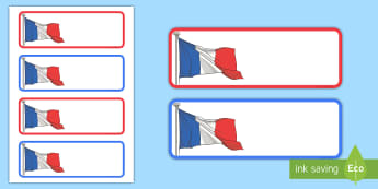 French Flag Themed Editable Drawer, Peg, Name Labels - Editable Drawer Peg Name Labels Colours Names - name tags, signs, colous, lebels, labeles, editble,