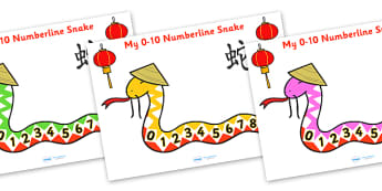 Year of the Snake 0 to 10 Number Line - numbers, numerline, number line, snake numberline, year of the snake numberline, counting to 10, snake, year of the snake, counting, counting on, counting back, maths, math, numeracy, number track, numbertrack