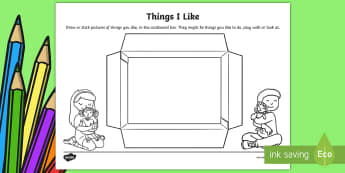 EYFS Things I Like Activity Sheet - back to school, first week back, all about me, likes, preferences, worksheet