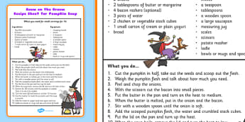 Pumpkin Soup Recipe Sheet to Support Teaching on Room on the Broom - recipes, cook