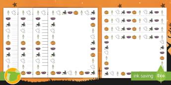 Pautas para escritura: Halloween - escritura, páginas, hojas, página, hoja, creatividad, escritura creativa, bordes, noche de brujas,