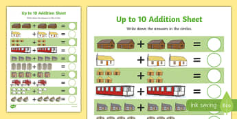 Houses and Homes Addition up to 10 Activity Sheet, worksheet