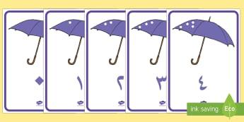 ملصق عرض الأعداد من صفر حتى عشرين مع رسومات مِظلّات - أعداد، حساب، أرقام، ملصق، عرض، حساب النقاط، صفر، عشرين