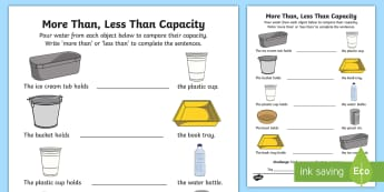 More Than, Less Than Capacity Activity Sheet - Mathematics, Foundation, Measurement and Geometry, Using units of measurement, ACMMG006, comparing c