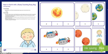 Back to Earth with a Bump Counting Busy Bag Resource Pack for Parents - Hal, Space, Maths, Numeracy, Moon Twinkl Fiction, Twinkl Stories
