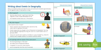 Writing about Events in Geography Guide - Structure, Exam Responses, Writing Template, Events, Causes, Impacts, Responses, Evaluation