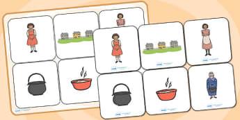 Magic Porridge Pot Matching Cards and Board - the magic porridge pot, magic porridge pot matching cards, magic porridge pot picture matching game, sen