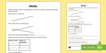 Sticks Maths Investigation Activity Sheet -  Intersections, sequences, patterns, triangular numbers, problem, worksheet