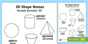3D Shapes Words Colouring Sheet English/Romanian - shape, colouring, wet play, EAL, 3D Shapes Words Colouring Sheets