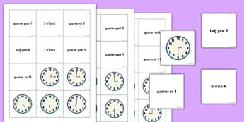 Telling the Time Words Analogue Pelmanism Game: Hour, Half, Quarter - telling the time, game