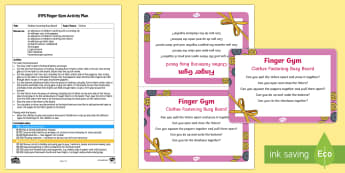 EYFS Clothes Fastening Busy Board Finger Gym Plan and Prompt Card Pack - funky fingers, dressed, wearing, clothing, doing up, Velcro, zip, poppers, buttons, shoe laces