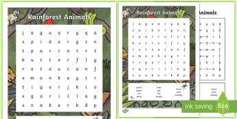 Rainforest Animals Word Search - Literacy - reading, skim, scan, vocabulary, keywords, rain forest,Scottish