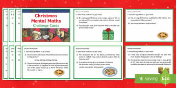 Y5 Christmas Mental Maths Challenge Cards - mental maths, christmas maths, christmas challenge, maths challenge