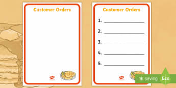 Pancake Cafe Role Play Order Forms - Pancake Day, UK, Feb, 28th, shrove Tuesday, pancakes, lent,