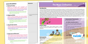 PlanIt - History UKS2 - The Maya Civilisation Planning Overview