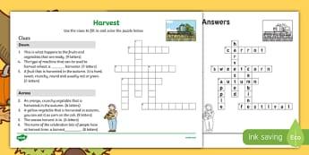 KS1 Harvest Crossword Activity Sheet, worksheet
