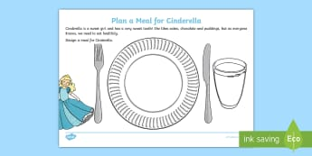 KS1 British Food Fortnight Design a Meal for Cinderella Activity Sheet - Worksheet, British food, year 1, year 2, cookery, healthy eating