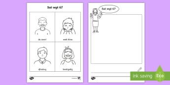 How are you? Activity Sheet - Welsh Second Language, feelings, welsh, worksheet.