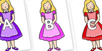 A-Z Alphabet on Alice - A-Z, A4, display, Alphabet frieze, Display letters, Letter posters, A-Z letters, Alphabet flashcards