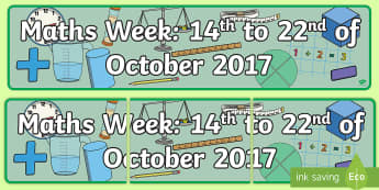 ROI Maths Week 2017 Display Banner - display banner, sign, maths week, 2017, Ireland, ROI,Irish