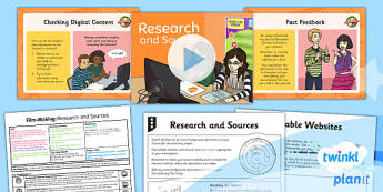 PlanIt - Computing Year 6 - Film-Making Lesson 2: Research and Sources Lesson Pack - movies, documentary, filming, video, camera, movie maker, digital devices