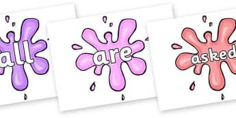 Tricky Words on Splat - Tricky words, DfES Letters and Sounds, Letters and sounds, display, words
