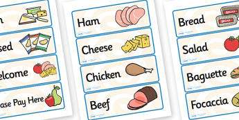 Sandwich Shop Role Play Labels-sandwich shop, role play, labels, role play labels, sandwich shop role play, sandwich shop labels, drama