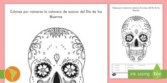 Colorear con números: La calavera del Día de los Muertos - Día de los muertos, colorear con números, calavera, calavera de az{ucar, catrina, calabera, españ