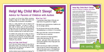 My Child Won't Sleep: Children with Autism Adult Guidance - autism, asd, sleep, problems, concerns, parent, guidance, tips, help