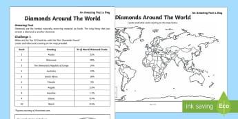 Diamonds Around The World Activity Sheet, worksheet