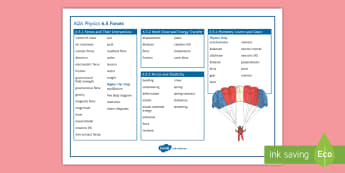 AQA Physics 6.5 Forces Word Mat - Word Mat, AQA, GCSE, Physics, force, forces, centre of mass, gravity, Moments, gear, lever, Levers,