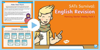 SATs Survival: Year 2 English Revision Morning Starter Weekly PowerPoint Pack 3  - SATs Survival Materials Year 2, SATs, assessment, 2017, English, SPaG, GPS, grammar, punctuation, sp