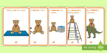 Teddy Bear Positional Language Display Posters - Early Years, EYFS, Maths, Mathematics, SSM, Shape, Space and Measure, prepositions, in front of, beh