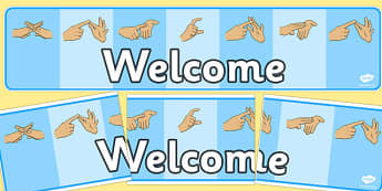 British Sign Language Fingerspelling Welcome Display Banner